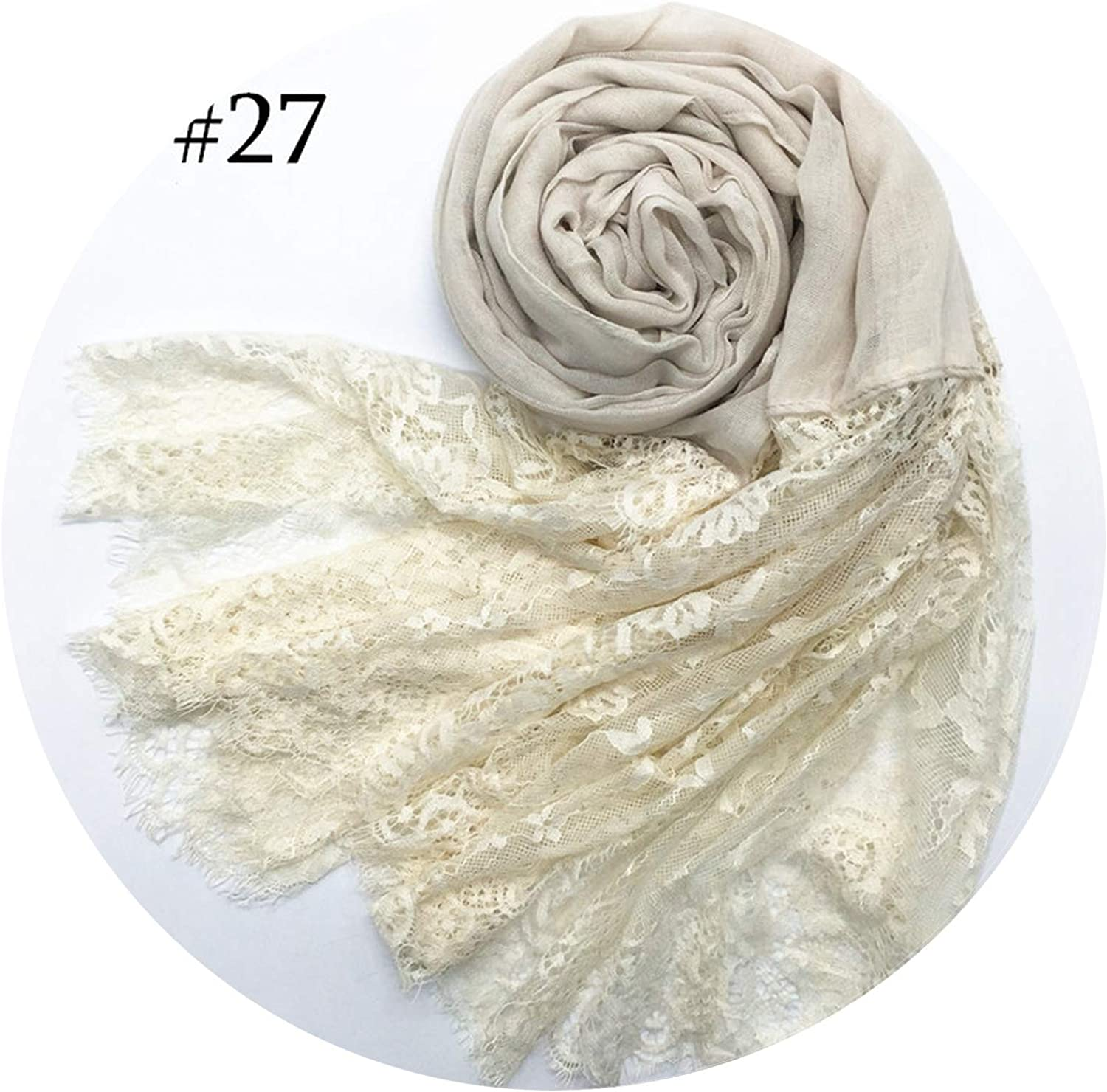 2018 fashion lace scarves shaws solid elegant lady simple flowers high quality soft,Number 27 color