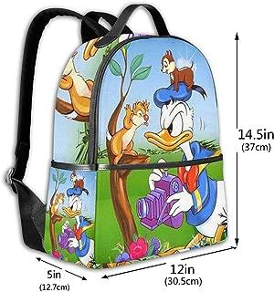 Classic School Backpack Take Photos Donald Duck Unisex College Schoolbag Travel Bookbag Black