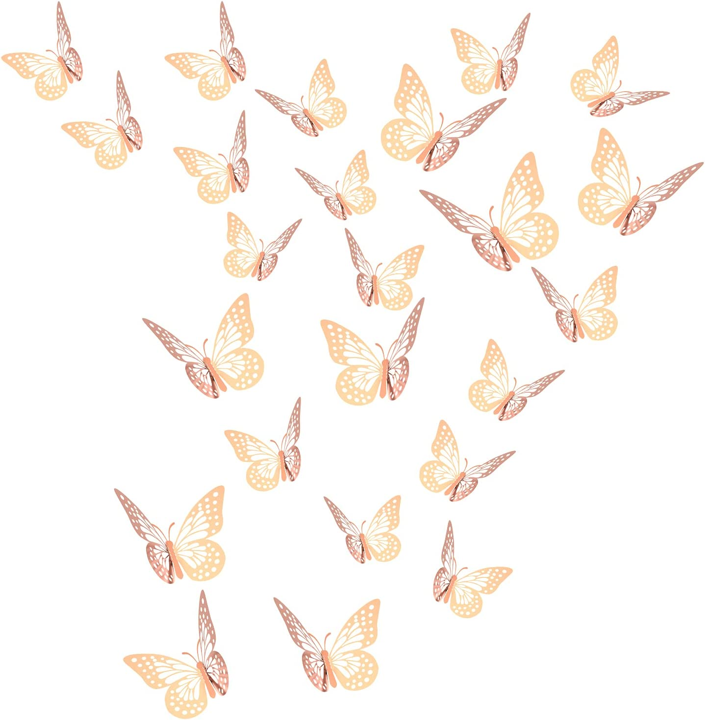 24pcs 3D Butterfly Removable Wall Stickers Mural Decor, 2styles 3 Sizes Rose Gold Butterfly for Baby Girl Bedroom Room Kitchen Classroom Wedding Birthday Party Cake Decoration DIY Gift(Rose Gold)