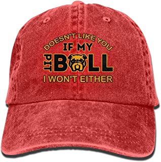 Hombres Mujer Gorra Beisbol,Snapback Sombreros If My Pit Bull Doesn'T Like You I Won'T Either Flex Denim Hat Mesh Cap