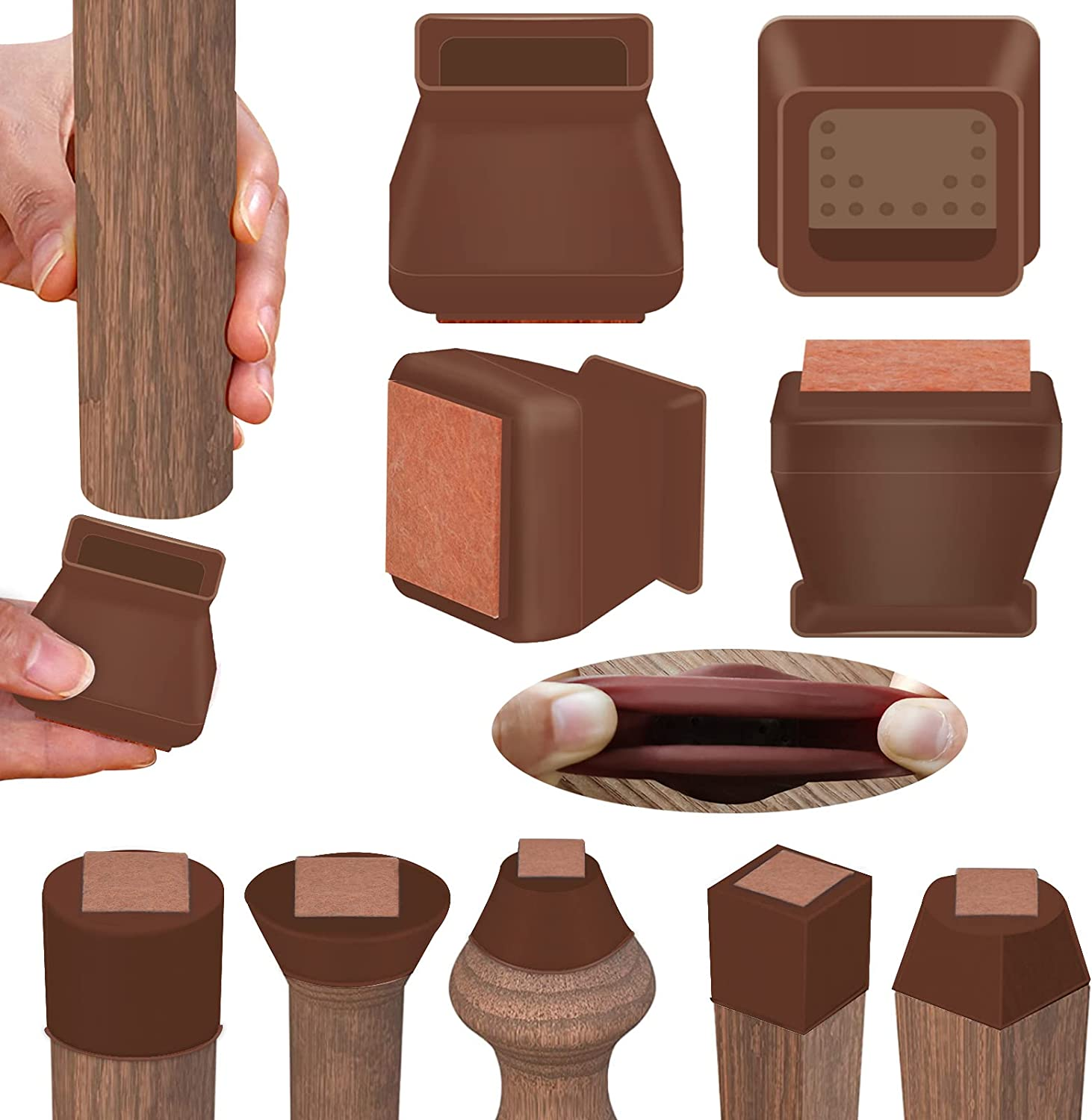 Silicone Chair Leg Floor Protectors with Felt, 16pcs Round&Square Silicone Chair Leg Covers for Mute Furniture Moving, Elastic Furniture Silicone Protection Cover (Square Dark Walnut, Small)