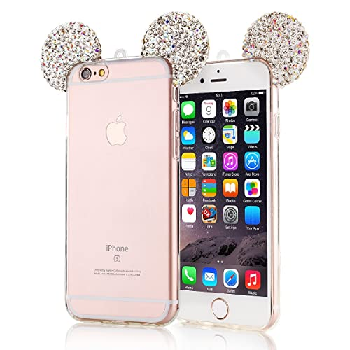 5ef9c67537 iPhone 6 Case, iphone 6 clear case,Lovely Animal 3D glitter bling Mouse Ears