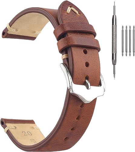 EACHE Bracelets de Montre en Cuir Vintage fabriqués à la Main Bracelets en Cuir Plus de Couleurs 18mm 19mm 20mm 22mm…