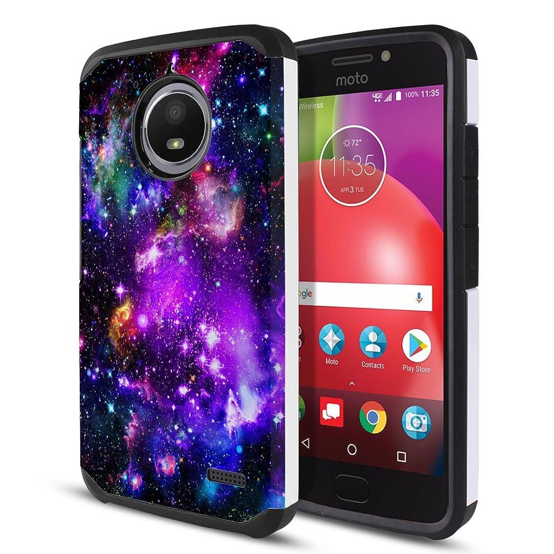 FINCIBO Case Compatible with Motorola Moto E4 XT1767 2017 USA, Dual Layer Hard Back Hybrid Protector Case Cover Anti Shock TPU for Moto E4 XT1767 (USA) (NOT FIT E4 Plus) - Purple Marvel Nebula Galaxy