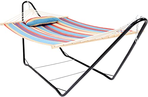 2021 Sunnydaze Cotton Fabric Hammock with Stand - Single Person Hammock 2021 with 10 Foot Steel Stand & Spreader Bars wholesale for Backyard & Patio - 300 Pound Capacity - Wildberry outlet online sale