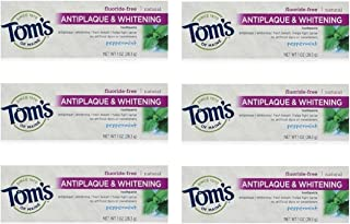 Tom's of Maine Natural Antiplaque Tartar Control & Whitening Toothpaste Peppermint 1 oz Travel Size (Pack of 6)