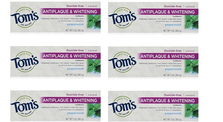 感嘆符素人真鍮Tom's of Maine Natural Antiplaque Tartar Control & Whitening Toothpaste Peppermint 1 oz Travel Size by Tom's of Maine