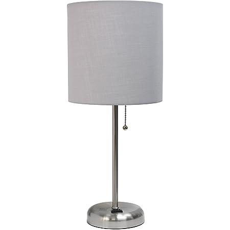 Limelights LT2024-AOW Lámpara de mesa con pantalla de tela y enchufe de carga, Contemporáneo, 19.29, Gray and Brushed Steel
