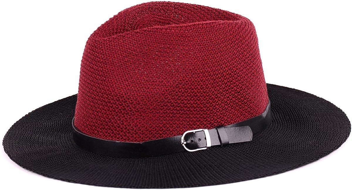 BYOS Fashion Boho Summer Straw Panama Fedora Sun Hat Wide Brim, Various Styles