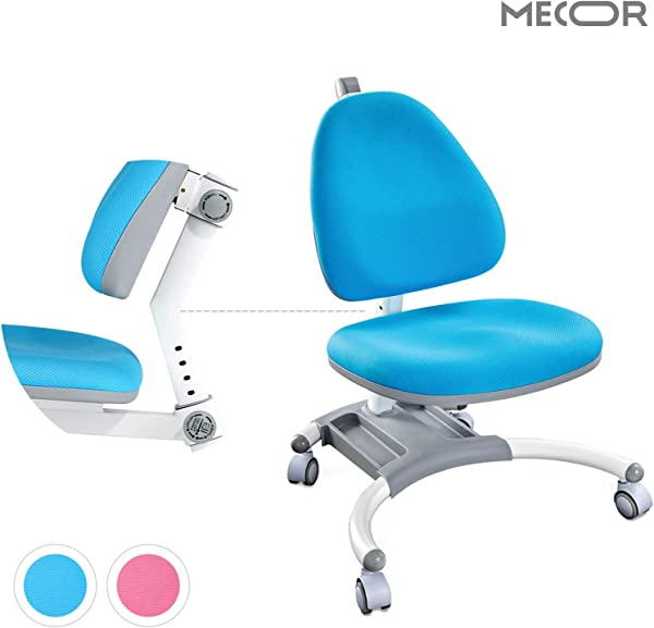 Mecor Kids Office Chair Student Desk Chair Height Adjustable Ergonomic Correct Posture Children Computer Chair Gravity Self Locking Casters Blue