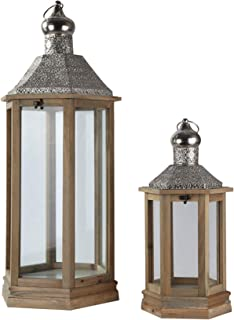 Urban Trends Hexagonal Lantern with Pierced Metal Top, Metal Ring Handle and Glass Sides in Natural Wood Finish (Set of 2), Sienna Brown