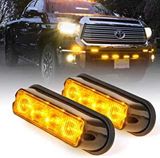 Xprite Amber Yellow 4 LED 4 Watt Emergency Vehicle Waterproof Surface Mount Deck Dash Grille Strobe Light Warning Police Light Head with Clear Lens - 2 Pack