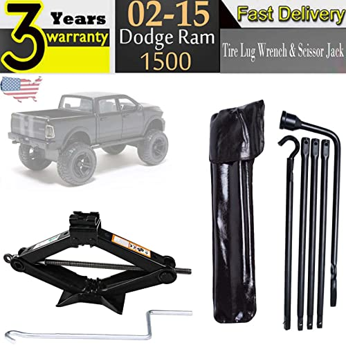 lowest Bowoshen Spare Tire popular Lug Wrench Tool Kit with Carry Bag & 2 Tonne Scissor Jack 90-360MM for 2002-2015 outlet sale Dodge Ram 1500 outlet online sale