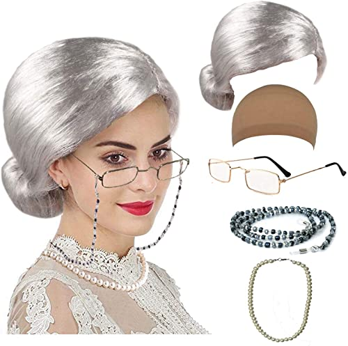 Old Lady Cosplay Set - Grandmother Wig, Wig Cap,Madea Granny Glasses, Eyeglass Chains Cords Strap, Pearl Beads