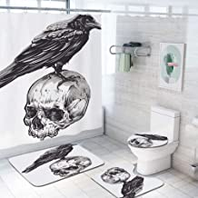 Scary 69x75 inch Shower Curtain Sets,Scary Movies Theme Crow Bird Sitting on a Human Old Skull Sketchy Image Decorative Toilet Pad Cover Bath Mat Shower Curtain Set 4 pcs Set,Charcoal Grey White