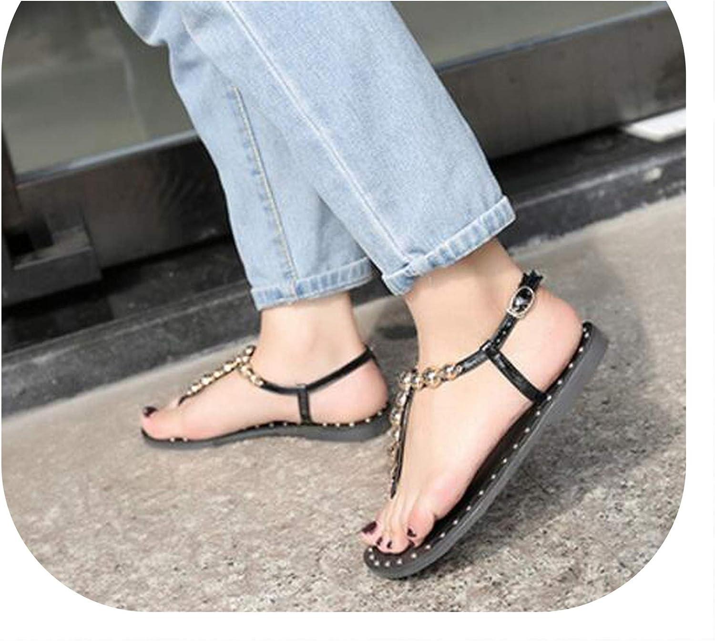 Alerghrg Women Sandals Ankle Strap Flat Buckle Strap Sandalias f085