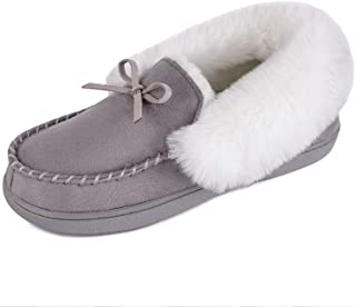 Women's Faux Fur Lined Suede House Slippers, Breathable Indoor Outdoor Moccasins