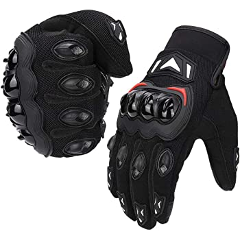 kemimoto Motorcycle Summer Gloves, Motorcycle Riding Gloves for Men Women Touchscreen Breathable Gloves With Knuckle Protection for Motocross Dirt Bike ATV UTV Gift for Father's Day (Black, Medium)