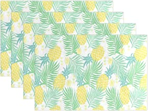 DERTYV Heat Resistant Placemats for Kitchen Table Mats,Summer Tropical Pineapple Washable Insulation Non Slip Placemat 12x18 inch 6pcs