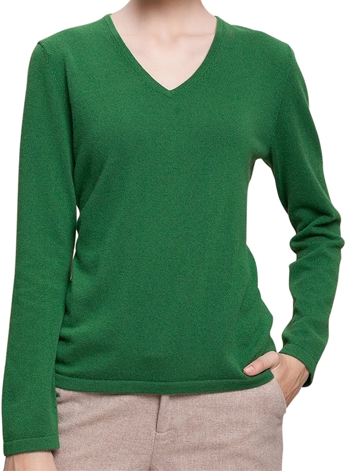 SpringAir Women's 100% Cashmere Long Sleeve Solid color Thin VNeck Sweater