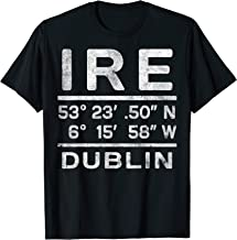 Dublin Ireland Coordinates Vintage Travel Graphic T-Shirt