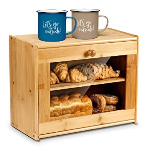 Bamboo Large Bread Box for Kitchen Countertop,2 Layer Bread Storage Container with Window,Farmhouse Kitchen Decor for Kitchen Counter,Wood Storage Box, Bread Holder To Keep Baking Fresh,No Assembly