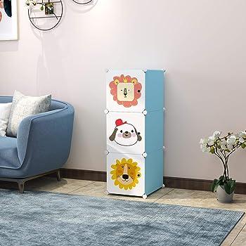 Keshav International 3 Door Plastic Sheet Wardrobe Storage Rack Closest Organizer for Clothes Kids Living Room Bedroom Small Accessories (Blue)
