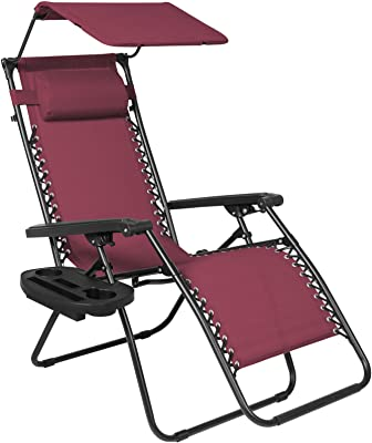 Creative Comfort Design Folding Zero Gravity Lounge Chair With Canopy & Magazine Cup Holder Provides Relaxation, Peace and Serenity With Its Mesh Fabric (Burgundy)