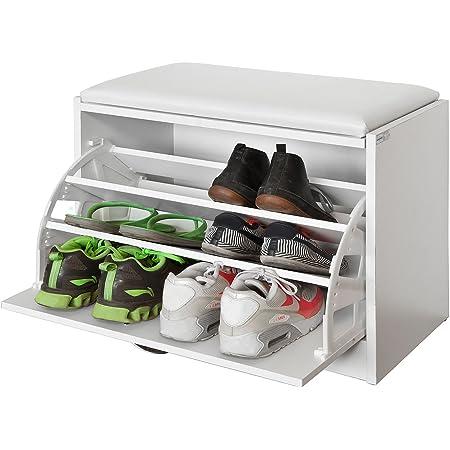 SoBuy® FSR16-W Banc Armoire à Chaussures 1 abattant avec Coussin Meuble d'entrée Coffre Rangement pour Chaussures - Blanc