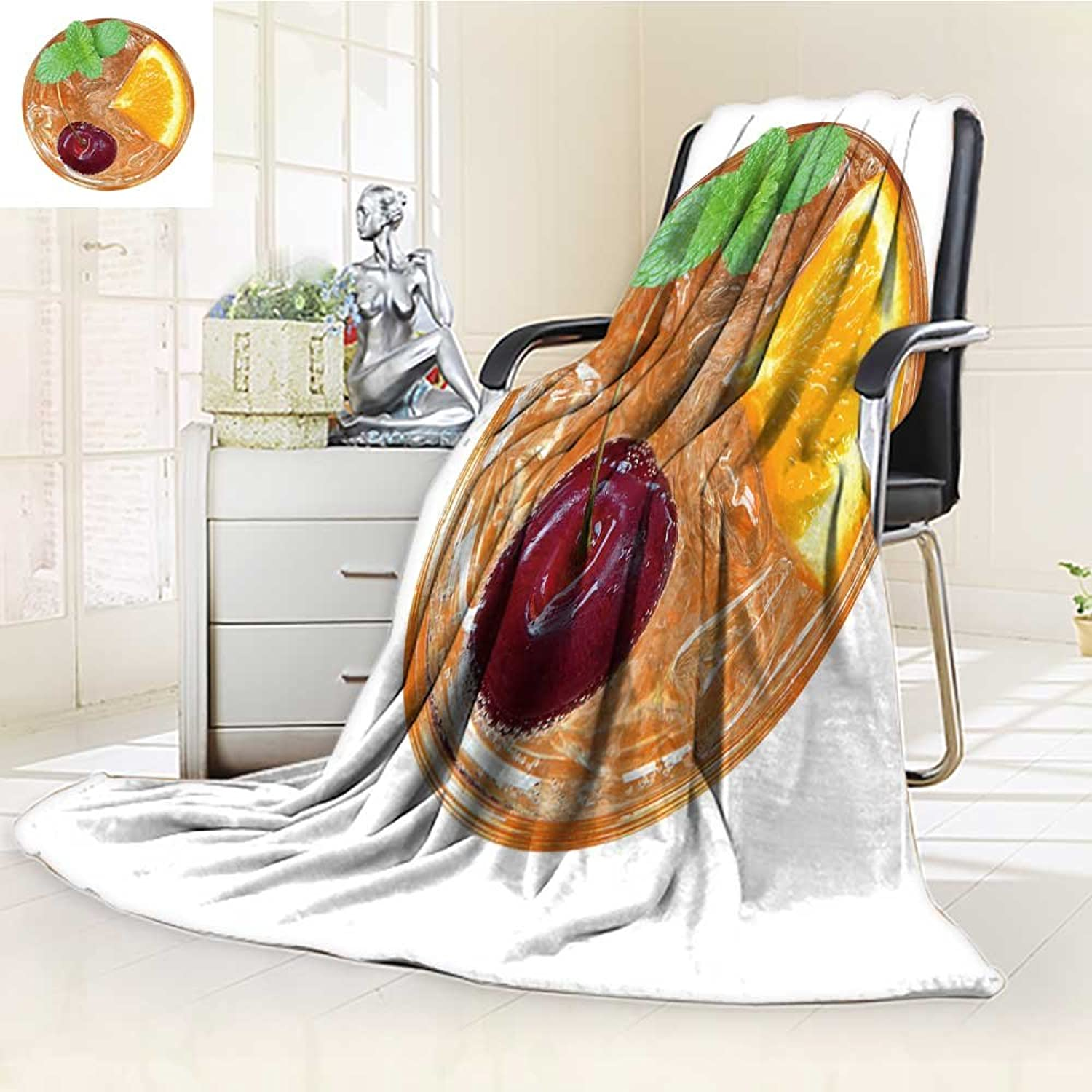 Decorative Throw Blanket UltraPlush Comfort orange Juice Cocktail with Cherry and Mint top View Isolated on White backgroun Soft, colorful, Oversized   Home, Couch, Outdoor, Travel Use(60 x 50 )
