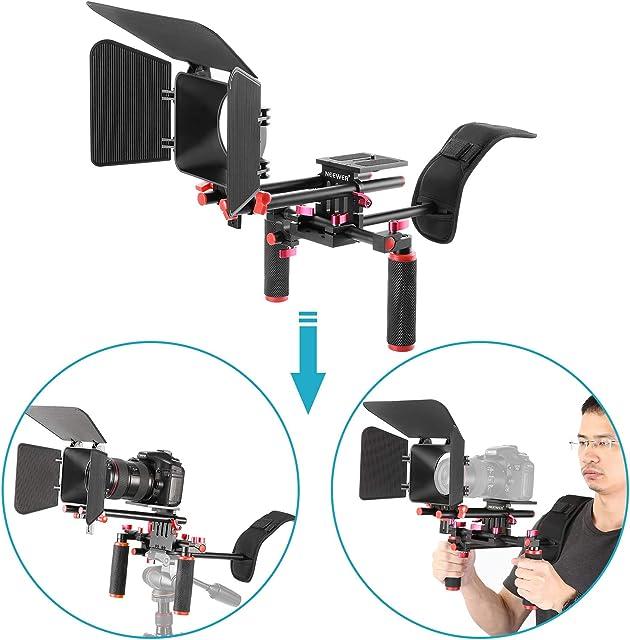 Neewer 10089989 Kit Sistema Rig Film-Maker Cámara Vídeo Cine Estándar 15mm Caja Mate(rojo y negro)