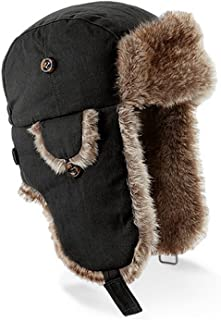 Beechfield Unisex Urban Winter Trapper Hat With Faux Fur Trim
