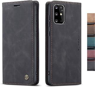 "AKHVRS S20+ Plus Case,Samsung S20 Plus Leather flip Case,Vintage Leather Wallet Case Flip with Card Holders Slots [Kickstand Feature] for Samsung Galaxy S20 Plus 6.7"" (Black)"