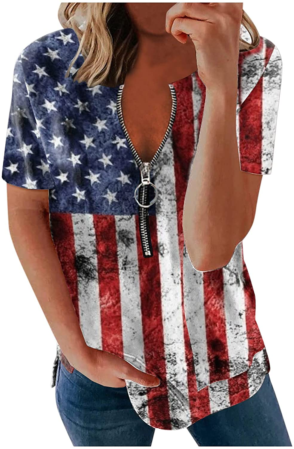 4th Shipping included of July Shirts for Women V Zipper Sleeve Short T Deocor Neck Bombing new work
