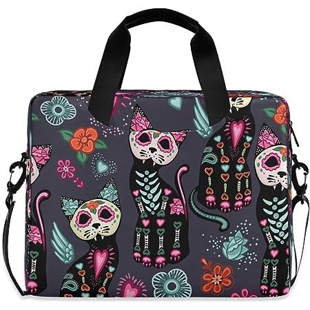 BETTKEN Laptop Tote Bag Floral Flower Cat Skull Halloween,Women Canvas Leather 15.6 Inch Computer Notebook Tablet Sleeve Shoulder Bag Case Handbag