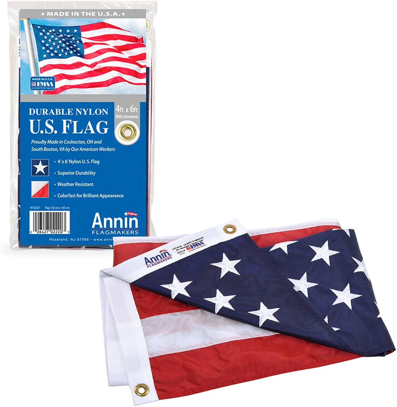 Annin Flagmakers 2220 American National Nylon Flag Fresno Mall All-Weather Max 59% OFF S