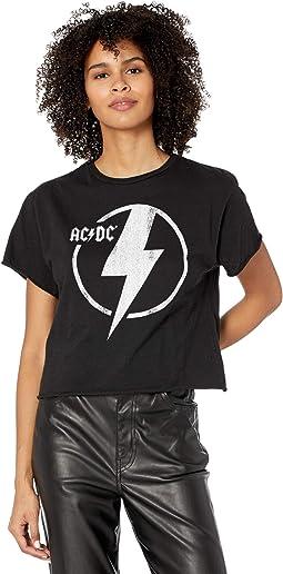 ACDC Lightening Bolt Slightly Cropped Slub Short Sleeve Tee