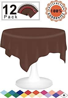Brown Fall Plastic Tablecloths Disposable Table Covers 12 Pack Premium 84 Inches Round Table Cloths for Round Tables up to 6 Feet and for Picnic BBQ Birthdays Weddings any Events, PEVA Material