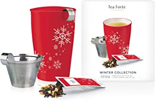 Tea Forte Loose Tea Starter Set, Gift Set with Kati Cup Infuser Steeping Cup and Box of 10 Single Steeps Assorted Variety Tea Pouches, Red Snowflake