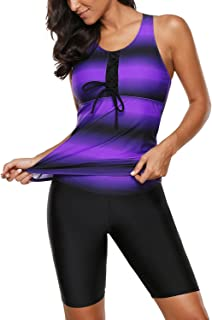 Itsmode Women's Color Block Racerback Tankini Top with Swim Bottoms Swimsuit S-XXXL