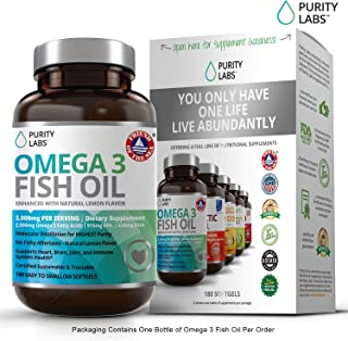 Purity Labs Omega 3 Fish Oil Supplement 3,000 MG Per Serving 180 Count Triple Strength Burpless Non-GMO NSF-Certified 915 MG EPA & 630 MG DHA 2 Month Supply Best Value Highest Potency