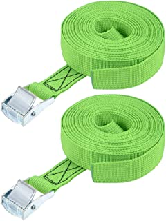 """uxcell® Lashing Strap 1"""" x 18' Cargo Tie Down Straps with Cam Lock Buckle Up to 551lbs Green 2pcs"""