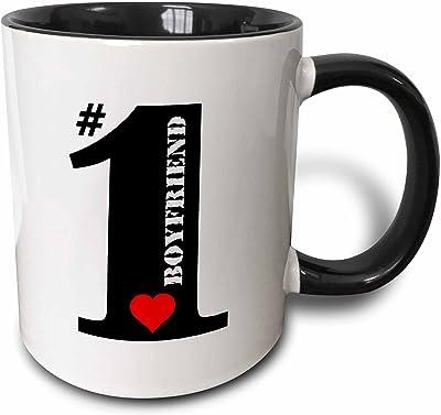ラス・ビリントン・デザイン–Number OneカプルBig Numeral One Withレッドハート–マグカップ 11-oz Two-Tone Black Mug ブラック mug_239189_4