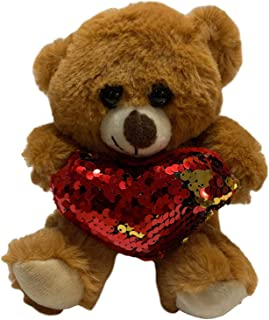 Valentines Day Mia Bear 18cm with Red Sequined Heart Valentine's Day Gift Soft Plush Toy