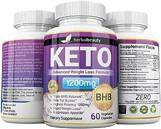 Keto BHB 1200mg Pure Ketone 60 Capsules (Pills) Advanced Weight Loss -Natural Ketosis Fat Burner Using Ketone & Ketogenic ...