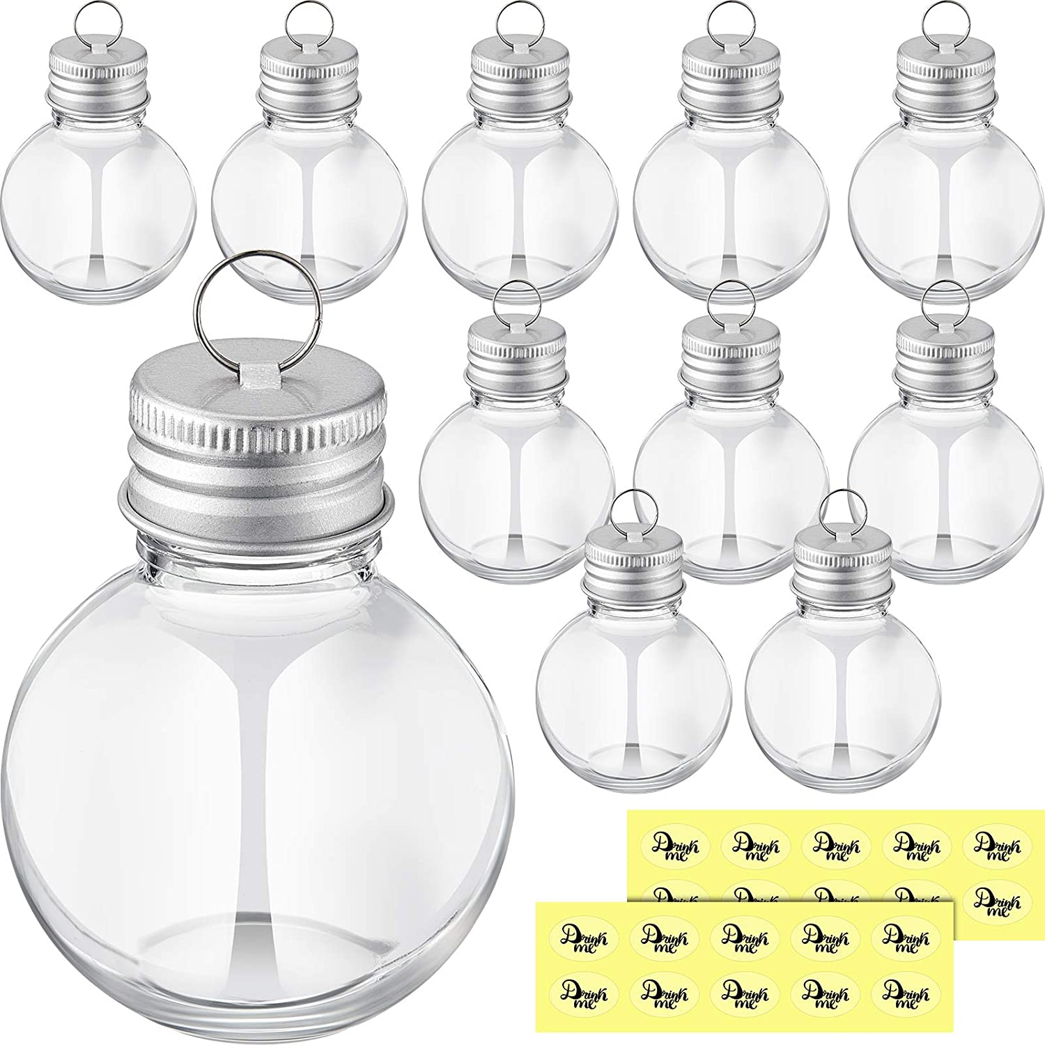 12 Pieces Christmas Booze Balls Christmas Fillable Booze Tree Ornaments Water Bottle Bulbs Shape Clear Plastic Christmas Ornaments Pendant Ball Bell for Home Decoration Party Decoration