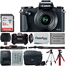 Canon PowerShot G1 X Mark III Digital Camera - Wi-Fi Enabled + 32GB Memory Card + Vivitar VIV-BTC-6 Camera/Camcorder Bag + Replacement Battery NB-13L + Camera Hand Grip + Cloth – Double Tripod Bundle