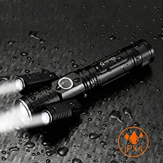 USB Rechargeable LED Flashlight, Waterproof 5 Modes Handheld Torch for Car Repair, Night Working, Super Bright Handheld Camping Latern Emergency Lamp (Black)