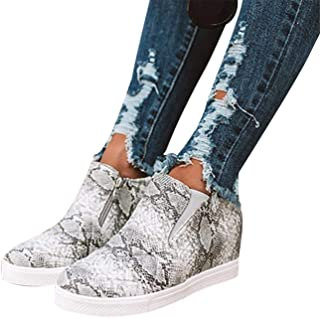 Mafulus Womens Platform Wedge Sneakers Fashion High Top Slip On Side Zipper Walking Shoes