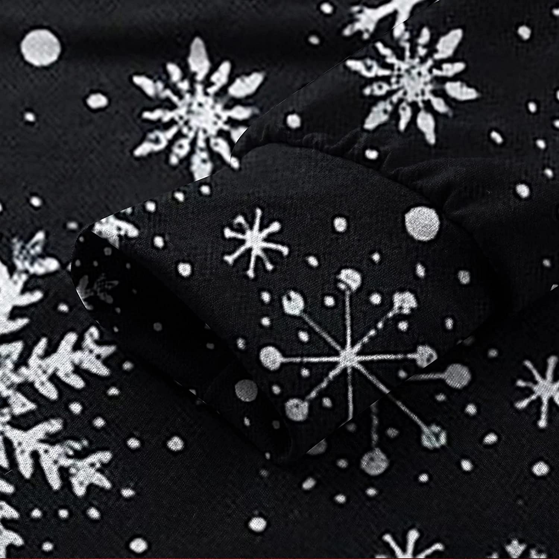 Women Casual Fall Hooded Dresses,Oversized Retro Snowflake Elegant Pullover Sweatshirt Long Sleeve Pocket Tshirt Dress